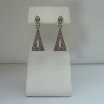 Chilean triangle post earrings with rhodochrosite
